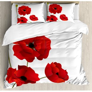 Floral Poppy Flowers Duvet Cover Set