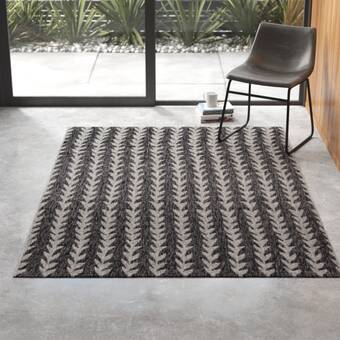 Umbria Charcoal White Indoor Outdoor Area Rug Reviews Allmodern