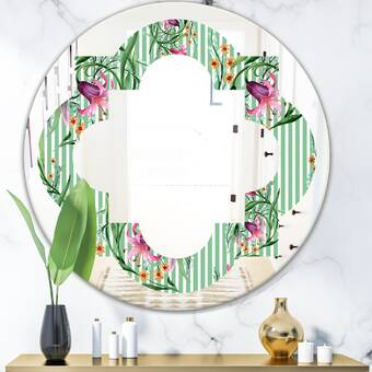 East Urban Home Leaves Abstract Drops Iii Coastal Frameless Wall Mirror