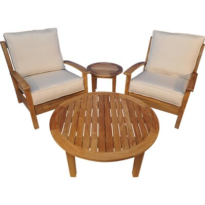 Regal Teak Teak 4 Piece Teak Sunbrella Conversation Set with Cushions
