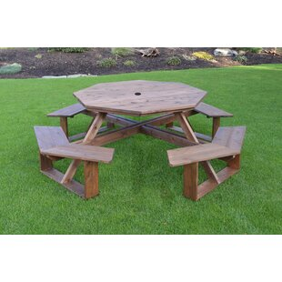 August Grove Sirna Wooden Picnic Table