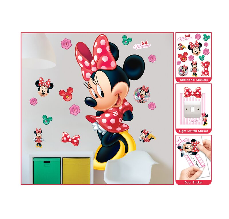 walltastic disney minnie mouse large character wall sticker