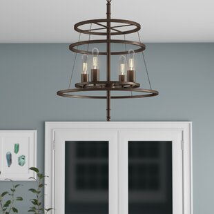 Saturnino 4-Light Wagon Wheel Chandelier ..