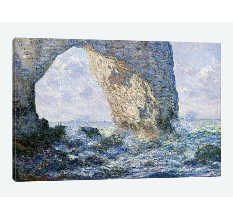 Vault W Artwork The Manneporte Etretat 1883 Claude Monet Print On Wrapped Canvas Wayfair