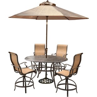 Buariki 5 Pieces High Dining Set with Umbrella