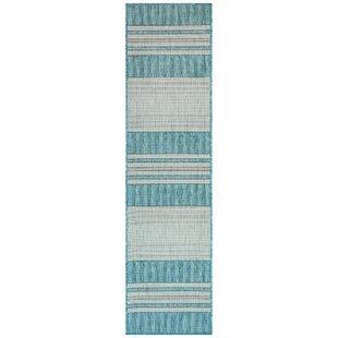 Desantiago Stripe Aqua/Gray Indoor/Outdoor Area Rug