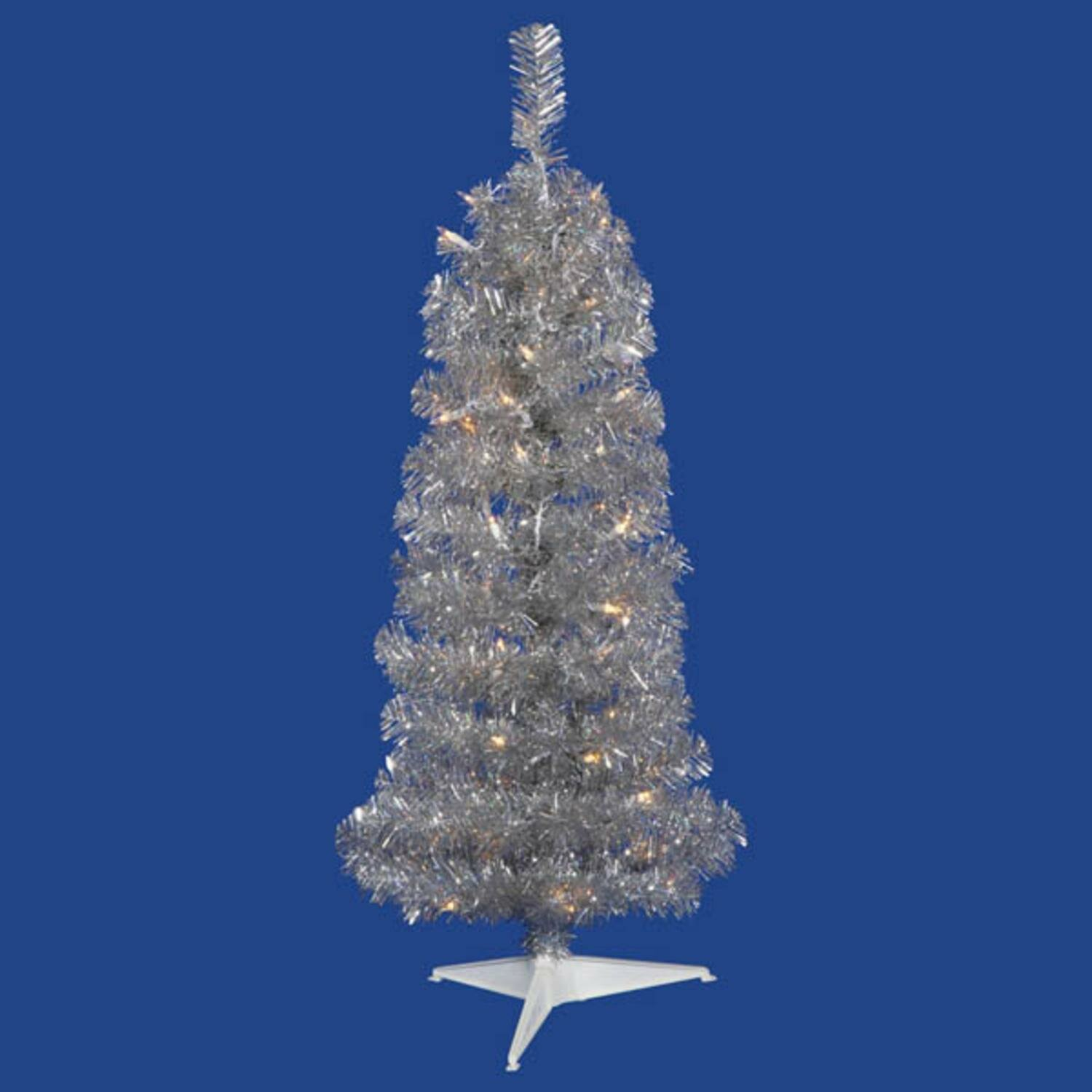 Pre Lit Pencil Tinsel 3 Silver Pine Artificial Christmas Tree With 50 Clear White Lights