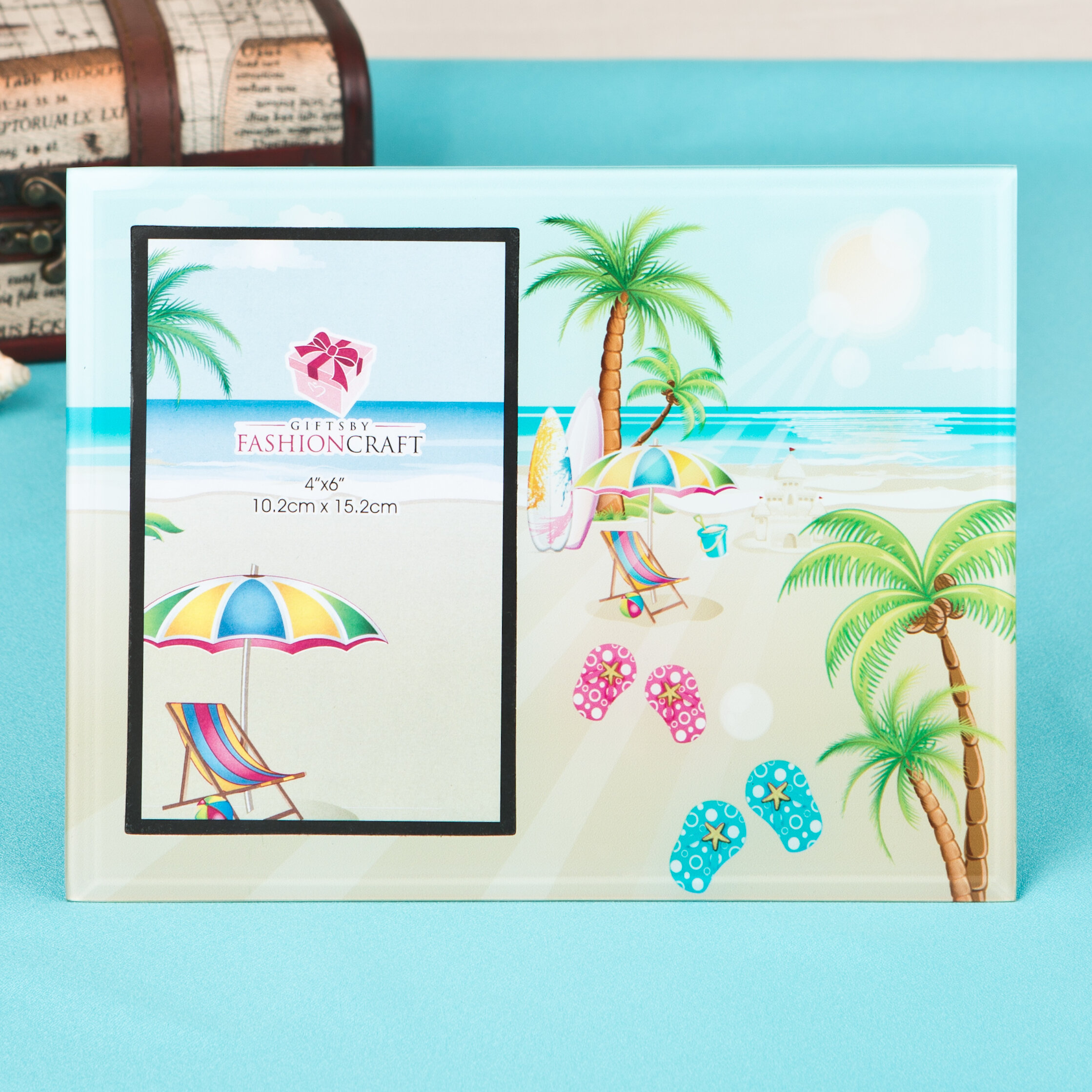 Highland Dunes Lovely Flip Flop, Palm Trees, Beach Picture Frame ...