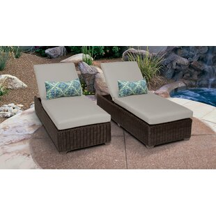 Mejia Reclining Sun Lounger Set with Cushion (Set of 2)