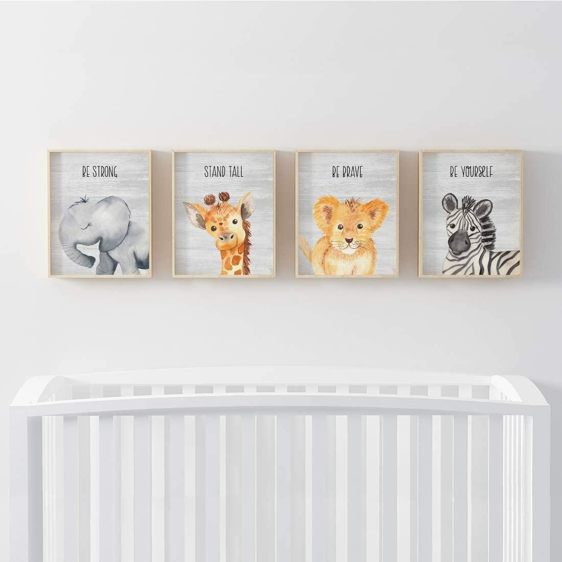 Harriet Bee Inspirational Nursery Room Wall Art Baby Animals Elephant Giraffe Lion Zebra Grey Rustic Wood Reviews Wayfair Ca