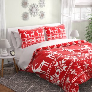 East Urban Home Christmas Red Deer Duvet Cover Set