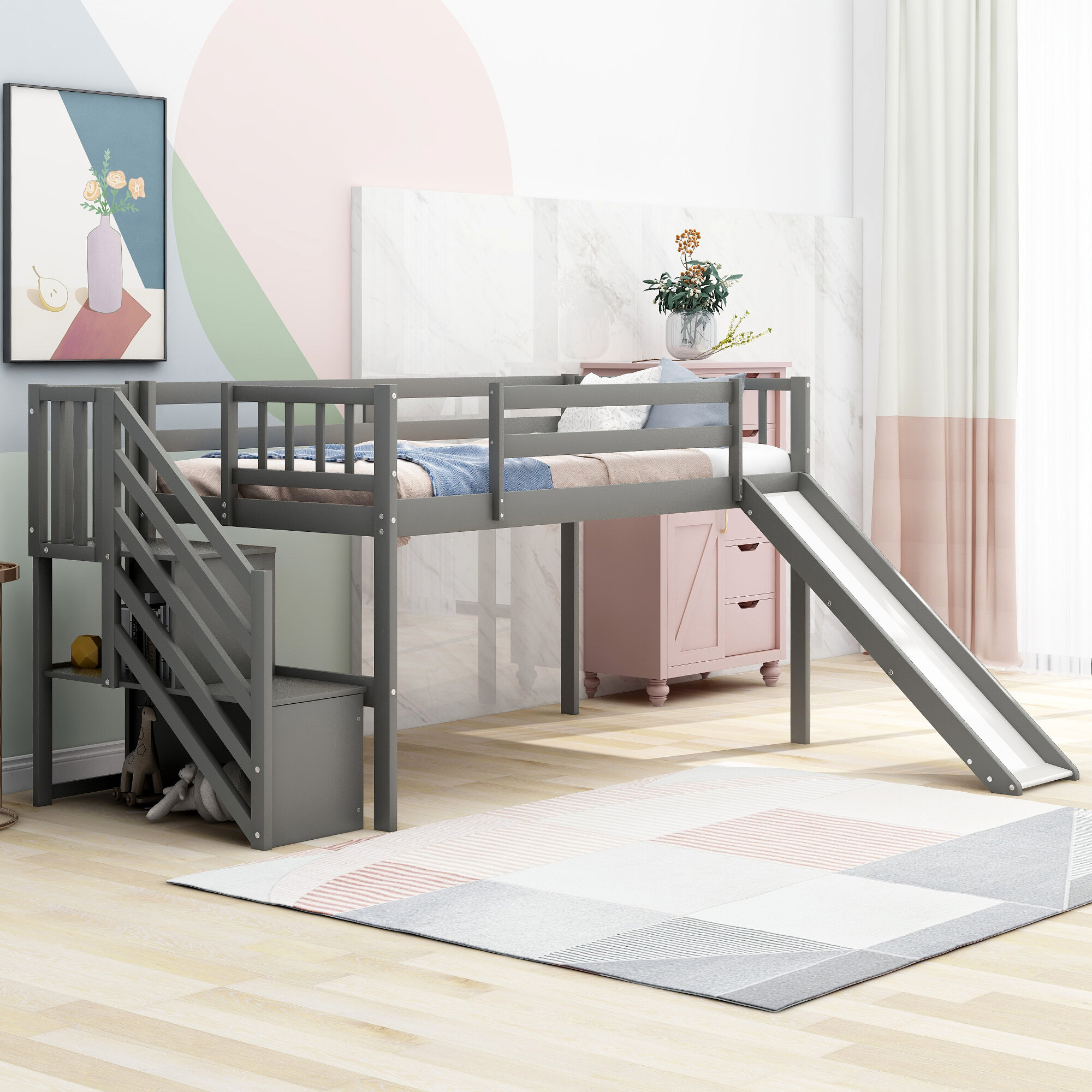 Isabelle Max Conradin Twin Low Loft Bed With Shelves Wayfair