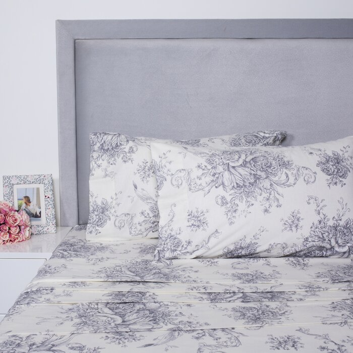 Toile Printed Cotton Sheet Set