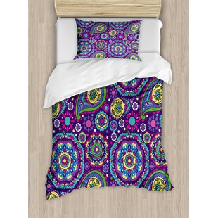 East Urban Home Ethnic Paisley Leaves with Asian Flower Figures Duvet Set