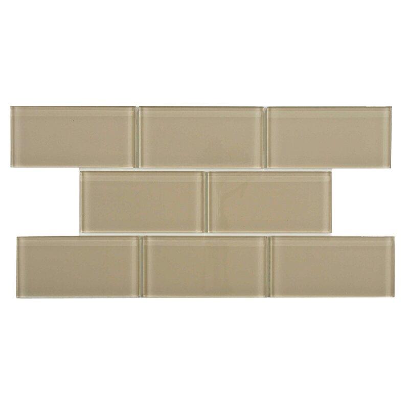 "Subway Tile elitetile sierra 3"" x 6"" glass subway tile in sandstone & reviews"