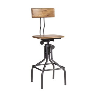 Iron And Wooden Height Adjustable Swivel Bar Stool By Williston Forge