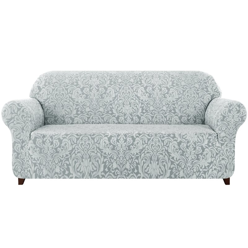 Astoria Grand Damask Printed Stretch Box Cushion Loveseat Slipcover Wayfair Co Uk