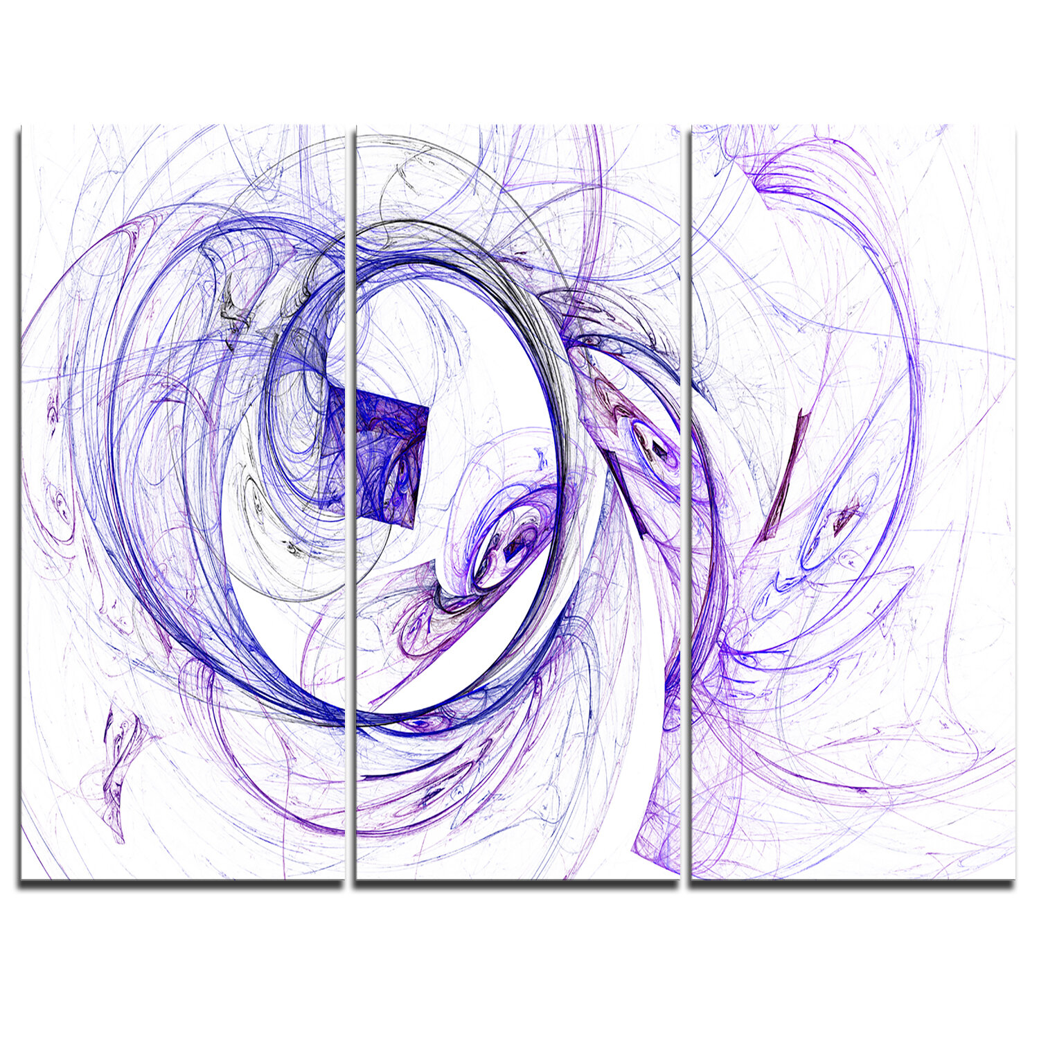 Designart Billowing Smoke Blue 3 Piece Graphic Art On Wrapped Canvas Set Wayfair