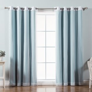 Mix and Match Zigzag Lace Solid Blackout Thermal Grommet Single Curtain Panel by Best Home Fashion, Inc.