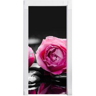 Dark Pink Rose Blossoms On Zen Stones Door Sticker By East Urban Home