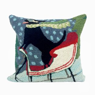 Sledding Dog Outdoor Throw Pillow