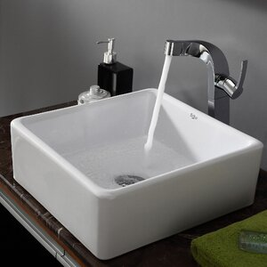 Ceramic Ceramic Square Vessel Bathroom Sink