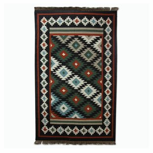 Best Choices Dhurrie Hand-Woven Black Area Rug By Novica