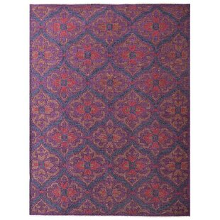 Best Reviews Rackers Sumak Floral Hand-Knotted Wool Purple Area Rug ByWorld Menagerie