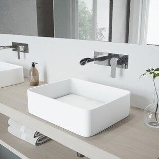 Price Check Jasmine Stone Rectangular Vessel Bathroom Sink with Faucet By VIGO