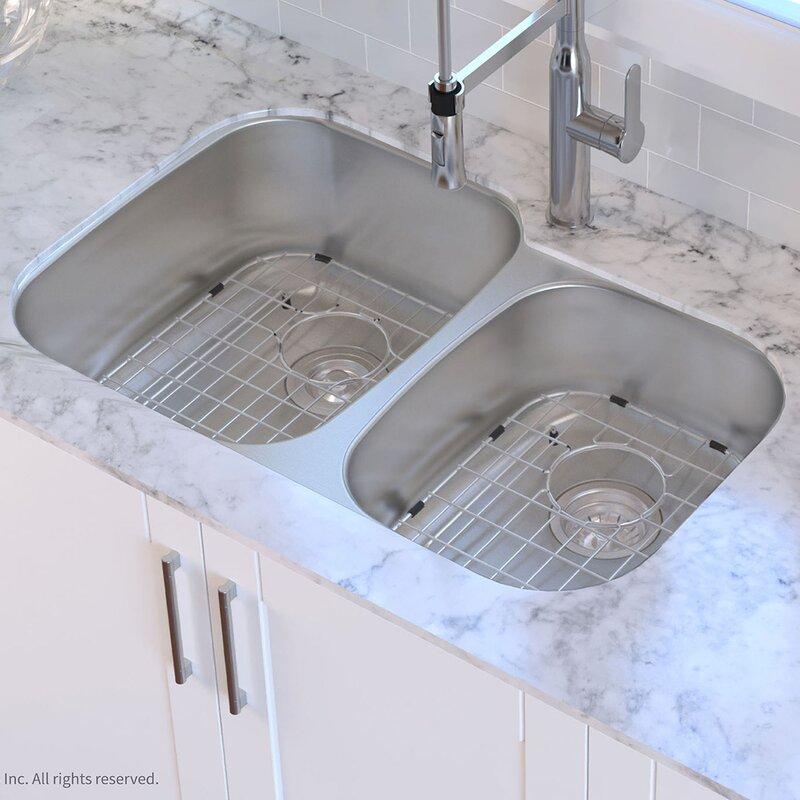 Undermount Kitchen Sink With Drainer Kraus 32 x 21 double basin undermount kitchen sink with drain 32 x 21 double basin undermount kitchen sink with drain assembly workwithnaturefo