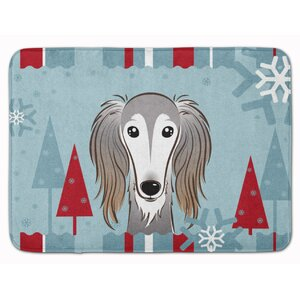Winter Holiday Saluki Memory Foam Bath Rug