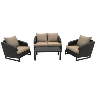 Dill 4 Piece Rattan Sofa Seating Group with Cushions by Alcott Hill