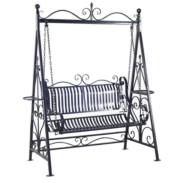 Charlton Home Kerry 2 Person Outdoor Metal Porch Swing with Stand ...
