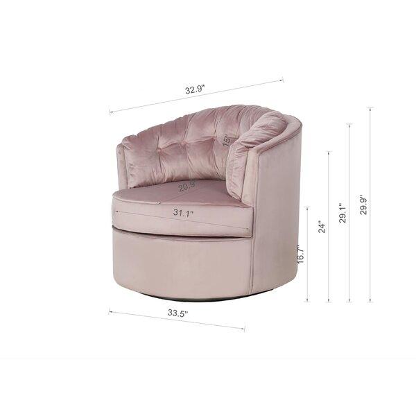 "Invicta 33.5"" W Tufted Velvet Swivel Barrel Chair"
