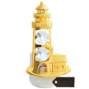Matashi Crystal 24K Gold Plated Crystal Studded Lighthouse LED Night Light