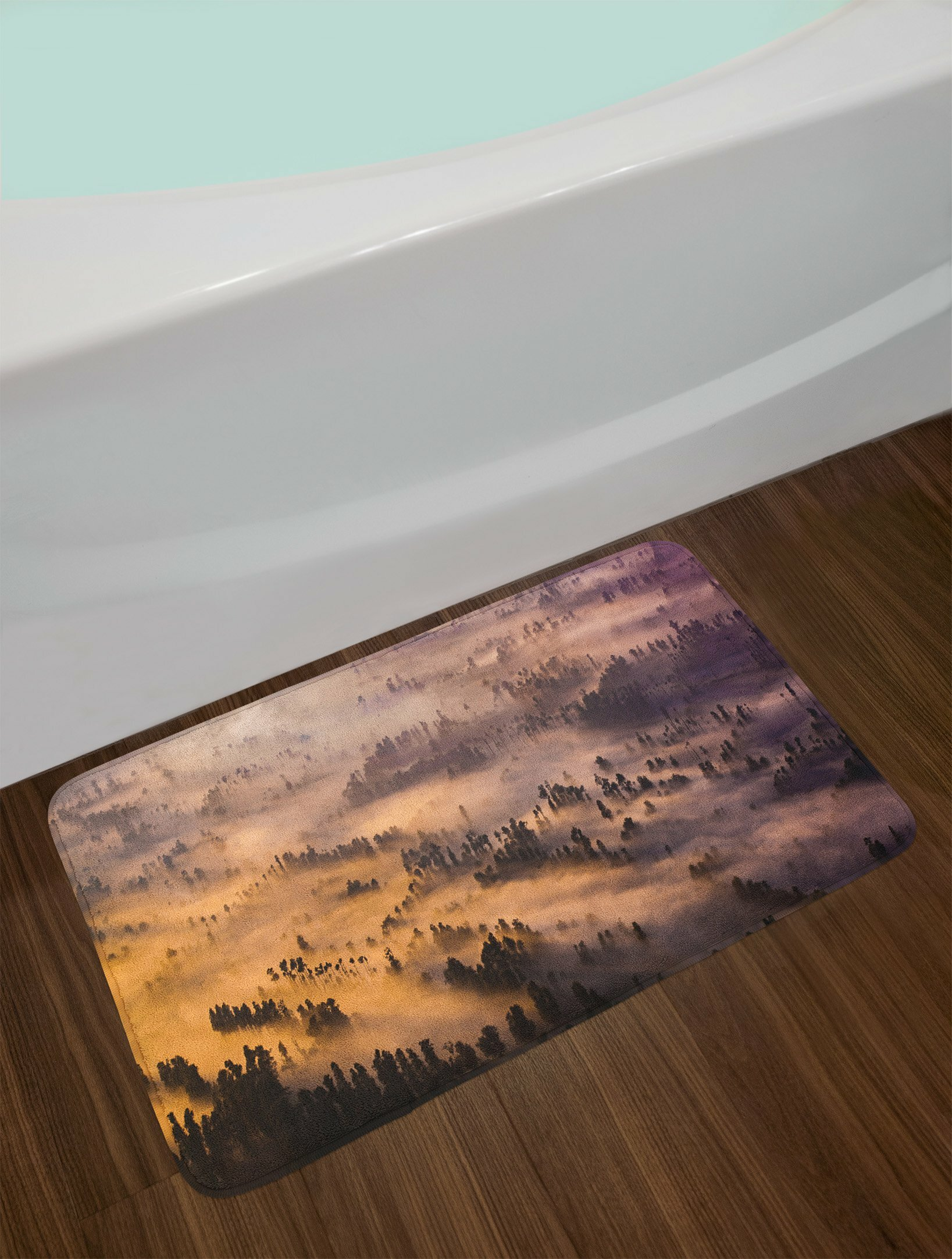 East Urban Home Mystic Sunrise over a Foggy Forest Summer Morning Time Wildlife Scenic Picture Non-Slip Plush Bath Rug | Wayfair