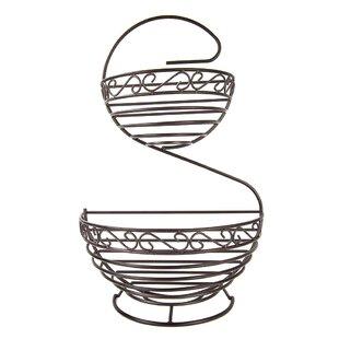 Scroll 2 Tier Spiral Fruit Basket