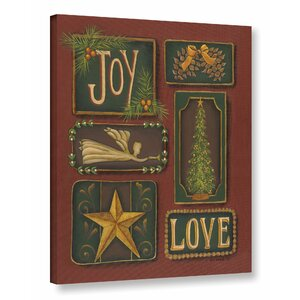 Joy and Love Textual Art on Wrapped Canvas