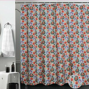 European Christmas Santa Claus Design Printed Shower Curtain By Violet Linen