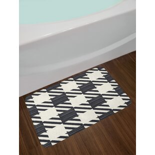 Diagonal Black And White Checkered Bath Rug
