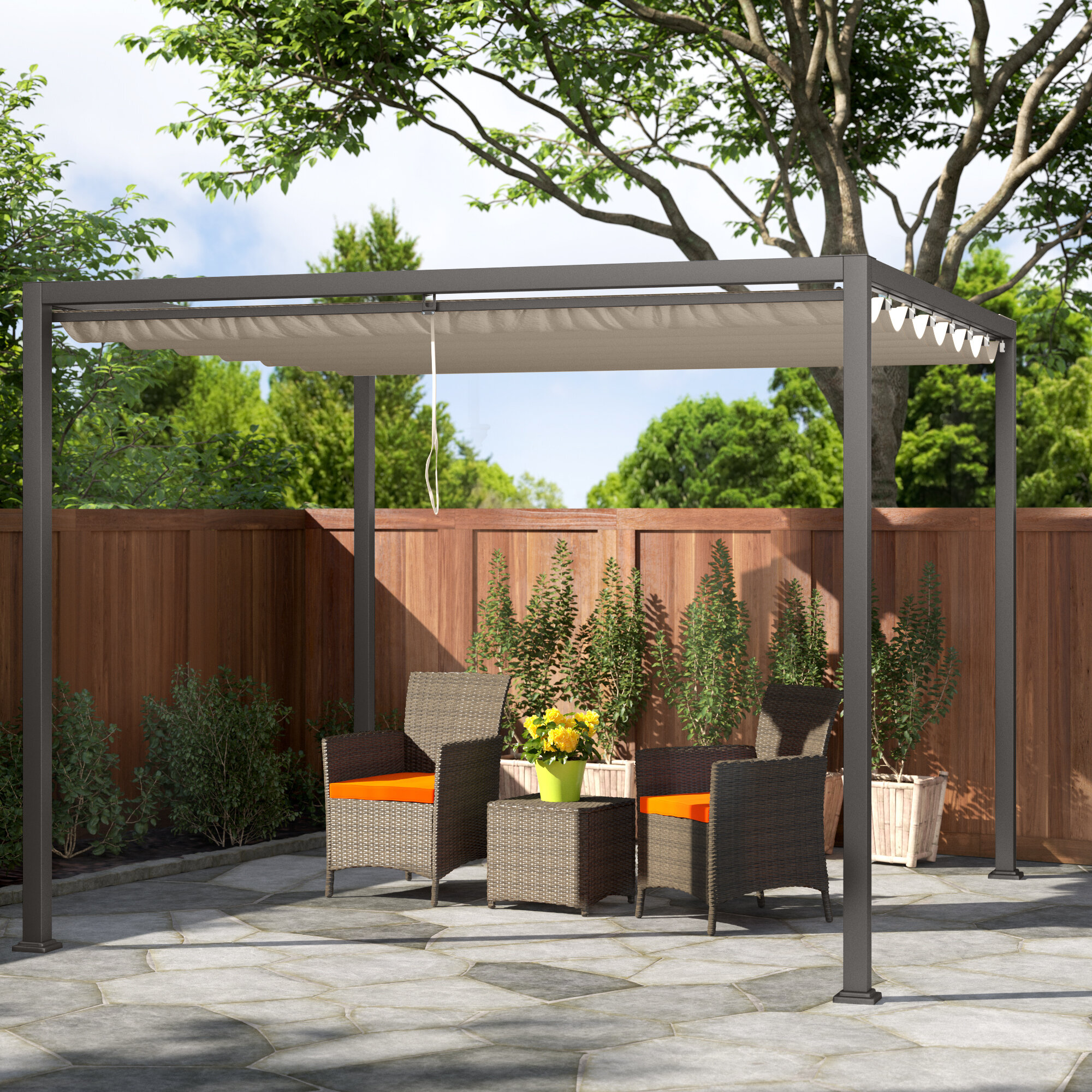 Royal Garden 9 9 W X 9 9 D Metal Pergola With Canopy Wayfair