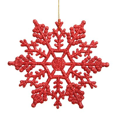 Glitter Snowflake Christmas Shaped Ornament Color: Red