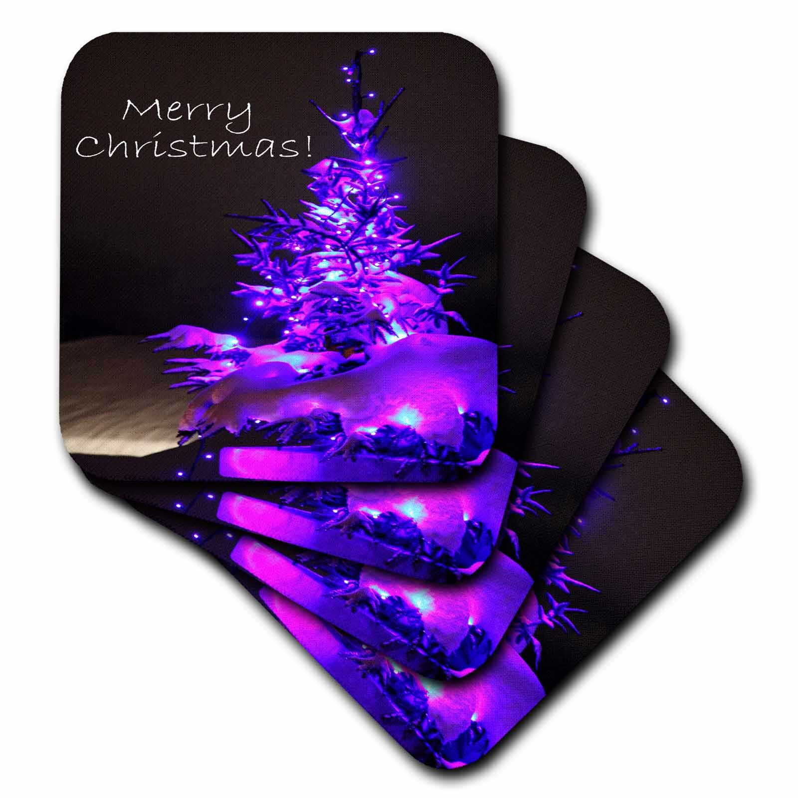 3drose Ceramic Tile Coasters Pretty Christmas Treemerry Christmas In Purple With White Text Set Of 4 Cst 8833 3 Wayfair