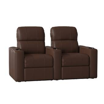 Latitude Run Leather Home Theater Row Seating (Row of 2) & Reviews