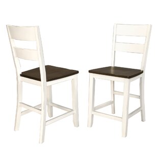Aguero Counter Height Solid Wood Dining Chair (Set of 2) Canora Grey