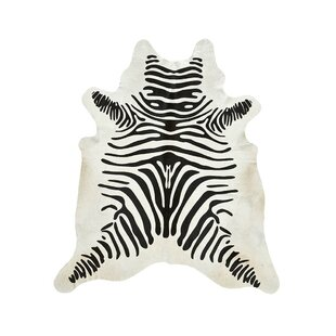 Read Reviews Zebra Cowhide Black/Off White Area Rug By Saddlemans