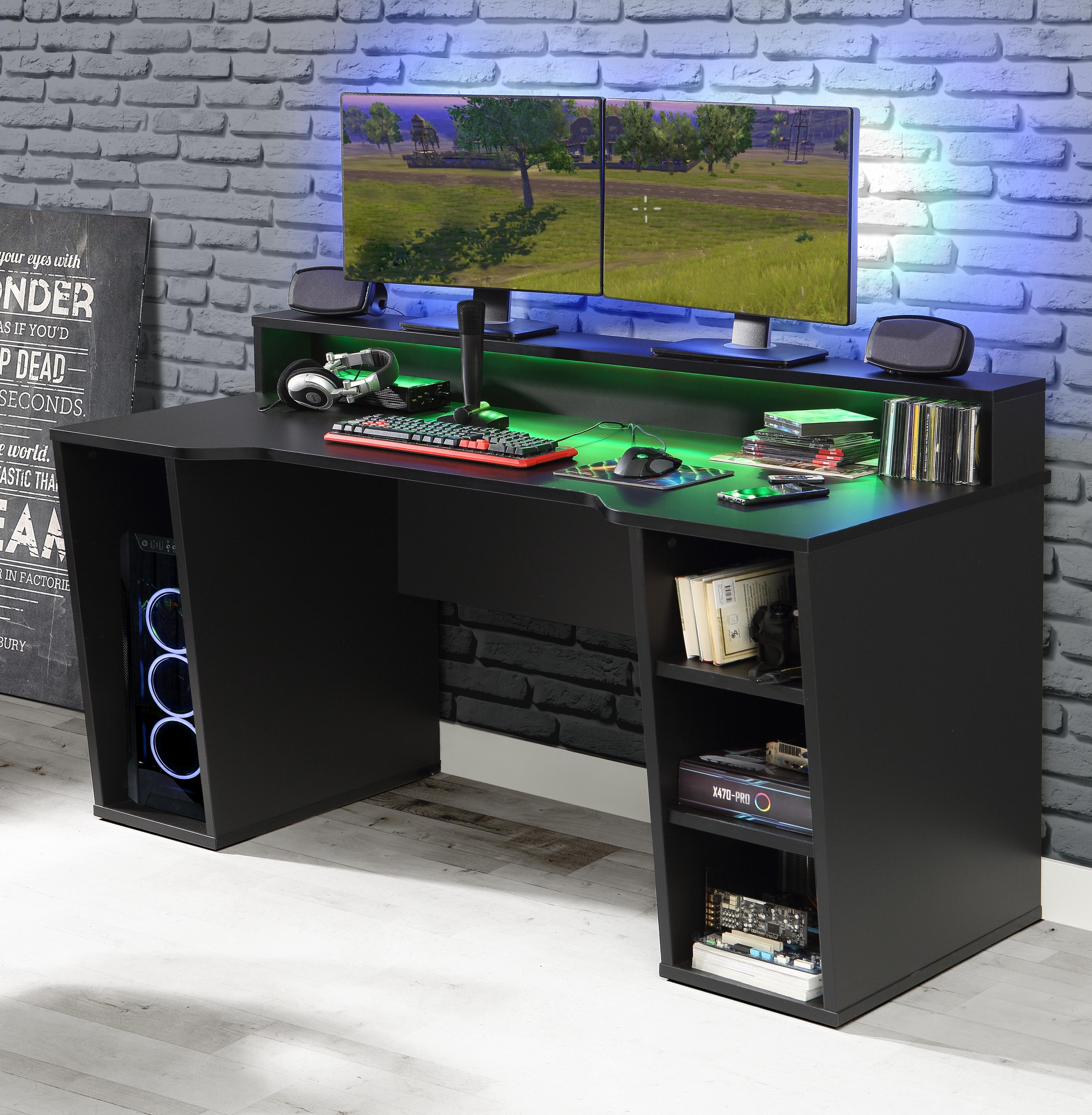 Ebern Designs Unyay Computer Desk With Led Strip Reviews Wayfair Co Uk