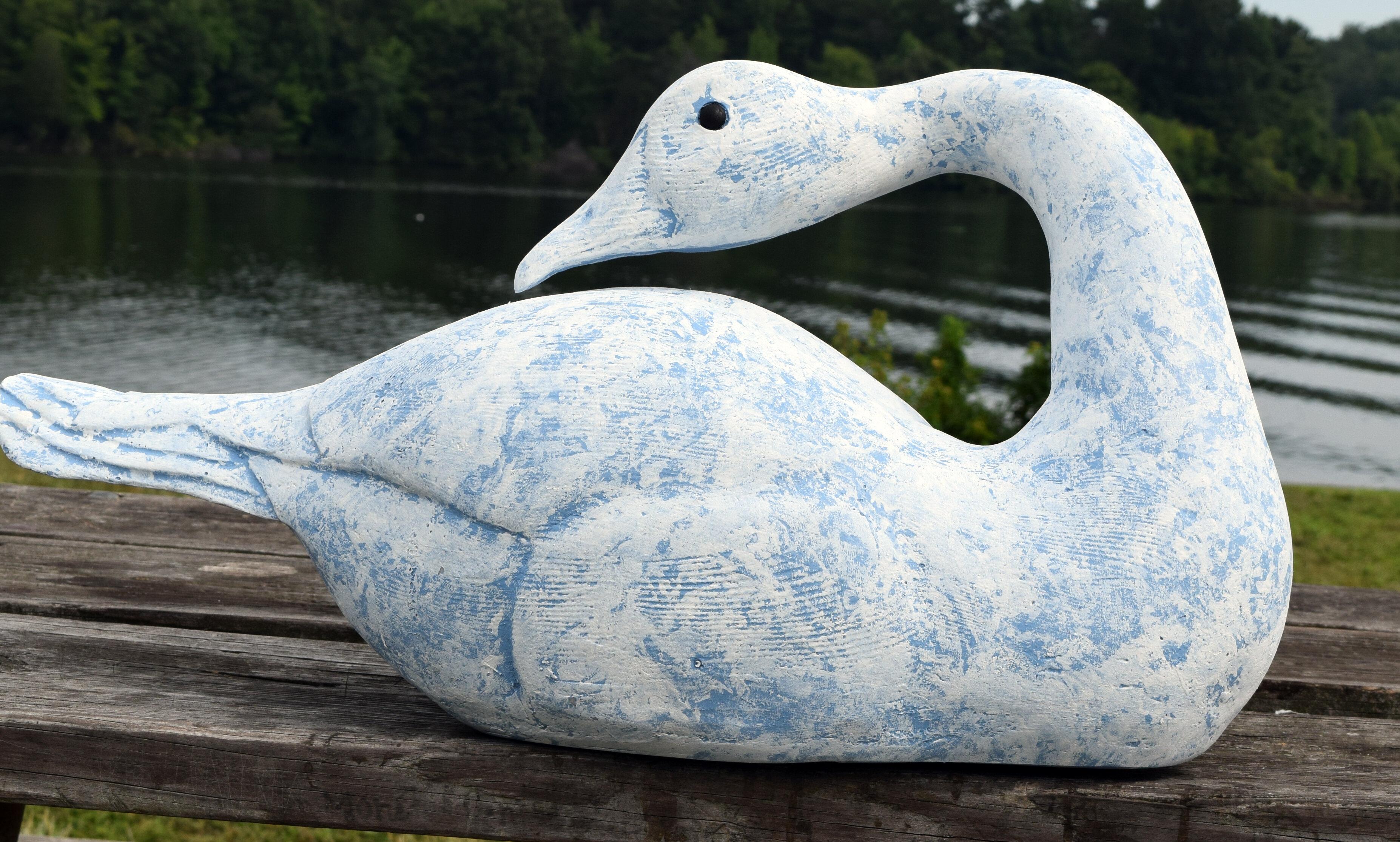 Hickory Manor House Primitive Sleeping Swan Statue | Wayfair