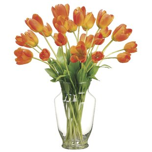 Tulips Floral Arrangement in Decorative Vase