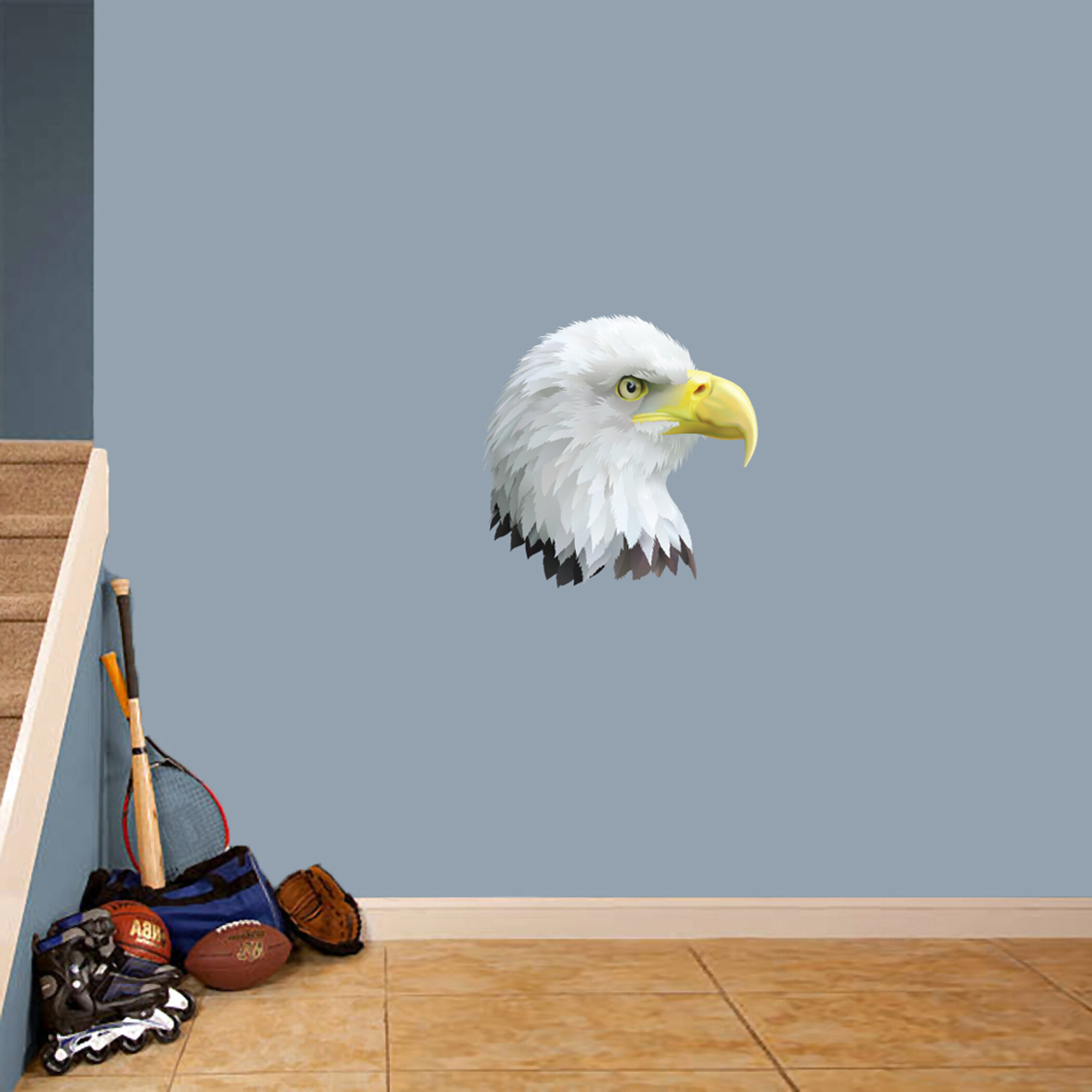 Vinyl Wall Decal Abstract American Flag Eagle Bird Bald Flying Sticker Wallstickers4you